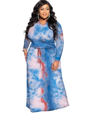 Blue Round Neck Plus Size Tie-Dyed Dress Fashion Shopping