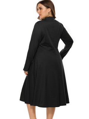 Frisky Black Tie Large Size Dress Long-Sleeved Casual Women