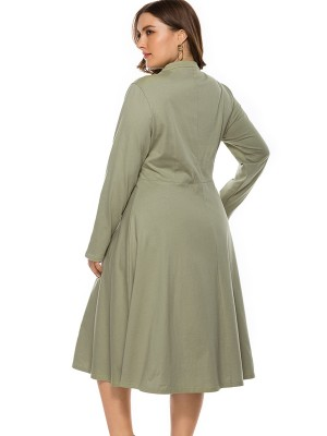 Ultra Cheap Green Full Sleeve Plus Size Dress Plain Chic Style