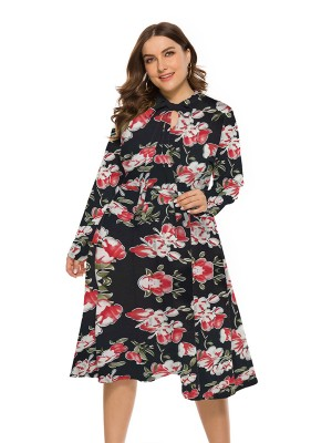 Boldly Floral Print Keyhole Big Size Dress Lady Charming