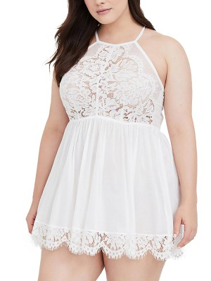 Ravishing White Plus Size Babydoll Lace Halter Neck