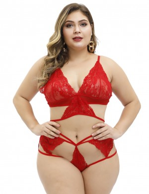 Red Large Size Lace Patchwork Embroidery Sling Bra Set
