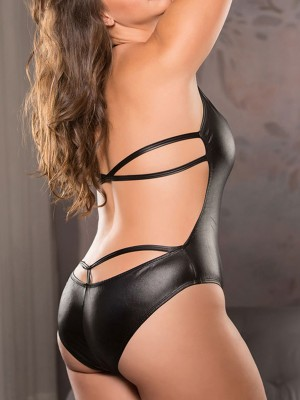 Gorgeous Black Teddy Halter Neck Backless High Cut Hot Sale