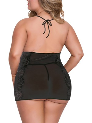 Sophisticated Black Hip Length Babydoll Large Size Mesh High Grade Female