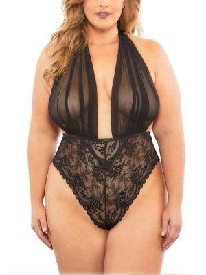 Frivolous Black Backless Mesh Plus Size Teddy Lace Sleepwear
