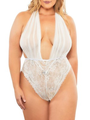 Playboy Sexy White Solid Color Teddy Queen Size Deep-V Inexpensive