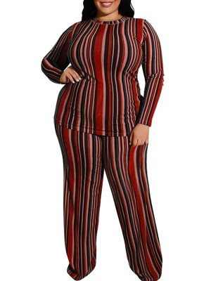 Matching Wine Red Full Sleeve Top Pants Set Queen Size Form Fit
