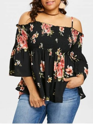 Sunny Black Sling Plus Size Top Off Shoulder Beach Playing Time