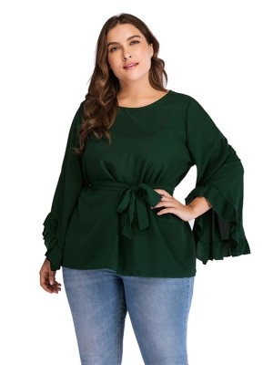 Vivid Flawless Green Bell Sleeve Big Size Shirt Waist Tie For Woman