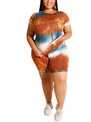 Orange Short Sleeve Tie Dye Top Set Big Size Superior Quality