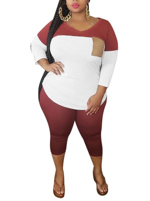Leisure Red V-Neck Plus Size T-Shirt And Pants Set Fashion Ideas