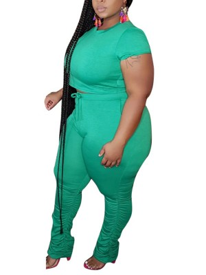 Affordable Green Cropped Top Full Length Leggings For Hanging Out