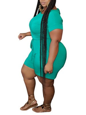 Inviting Green Short Sleeve Queen Size Jumpsuit Wholesale Online