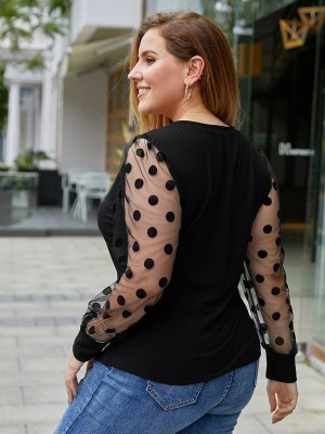 Vogue Black Polka Dots Queen Size Shirt Mesh Elastic Material