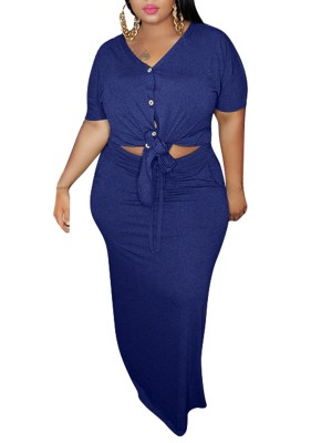 Luscious Curvy Royal Blue Button V-Neck Top Skirt Two-Piece