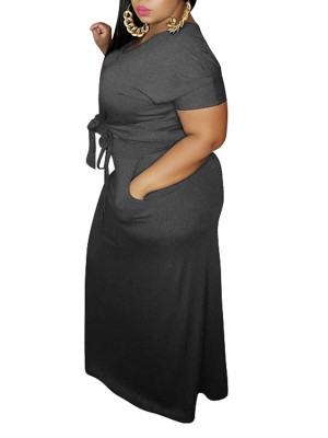 Dainty Gray Knit Top Plus Size Bodycon Skirt Set Comfort Fabric