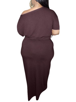 Mysterious Wine Red Front Knot Top And Large Size Skirt Stretch