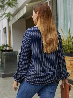 Mysterious Navy Blue Lantern Sleeves Stripe Top Queen Size