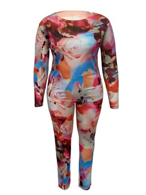 Pink Plus Size Tie Dyed Top And Pants Set Casual Fashion