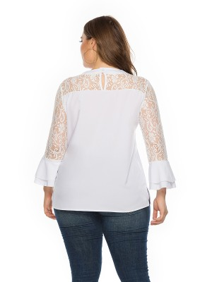Lavish White Round Neck Keyhole Shirt Plus Size Comfortable