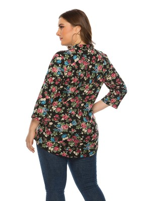 Fashionable Black V Neck Queen Size Shirt Floral Print For Girl