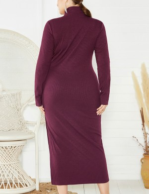 Exotic Paradise Red Solid Color Long Sleeve Plus Size Dress
