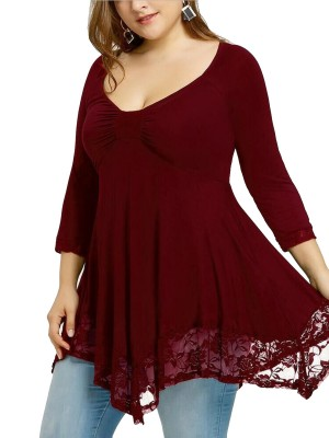 Women Plus Size Pleated 3/4 Sleeve Shirt