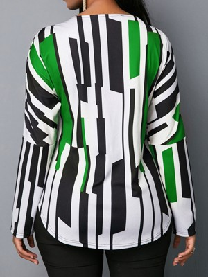 Sultry Green Zip V-Neck Large Size Top Curved-Hem Comfort Women