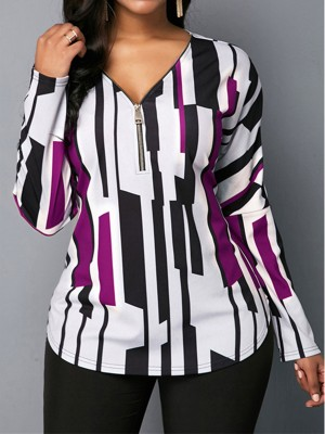 Zealous Purple Long Sleeves V Neck Top Plus Size Fashion Design
