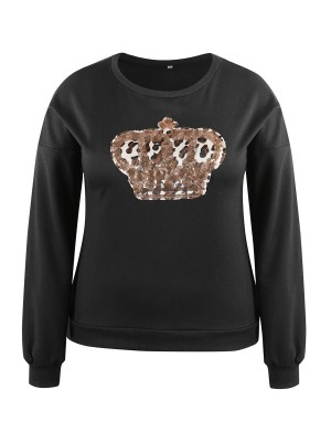 Trendy Black Large Size Sweatshirt Sequin Pattern Women's Fashion