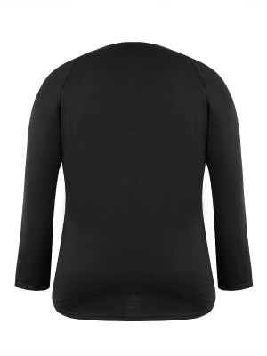 Classy Black Sequin Chest Pocket Sweatshirt Big Size For Upscale