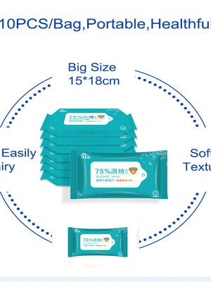 Essential 20 Packs Hand&Surface Wipes Alcohol Disinfectant