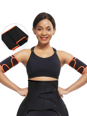 Orange 2Pcs Neoprene Arm Trimmers With Pockets Highest Compression