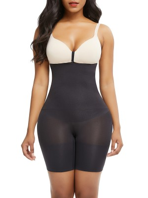Firm Foundations Black Under Bust Seamless Panty Sheer Mesh Anti-Slip