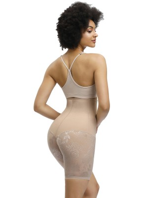 Fashionable Nude Color High Rise Lace Patchwork Butt Lifter Comfort Fashion