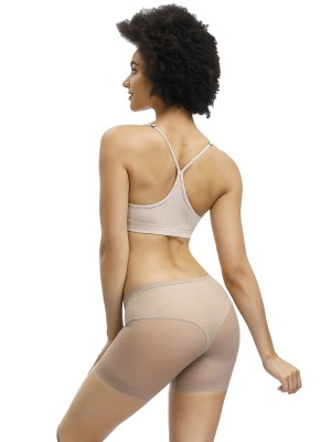 Ultimate Stretch Apricot Butt Lifter Sheer Mesh Mid-Rise Panty Back Support