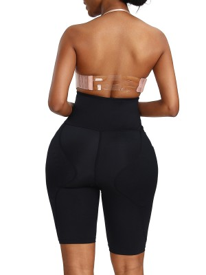 Sophisticated Black High Rise Butt Lifter Solid Color Posture Correct