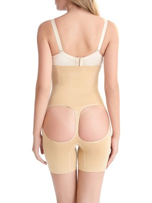 Body-Hugging Apricot Open Butt Lifter Panties Seamless High Rise