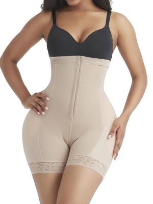 Slimming Belly Complexion Detachable Pads Shaper Shorts Lace Trim