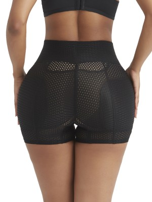 Black High Rise Butt Enhancer Hollow Out Highest Compression