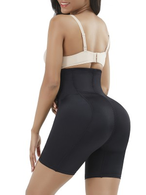 Black High Waist Hook Padded Hip Enhancer Smooth Silhouette