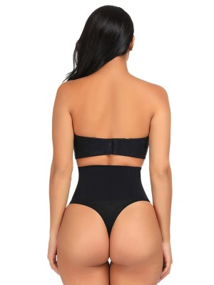 Black Seamless 4 Steel Bones Shapewear Thong Slimming Tummy