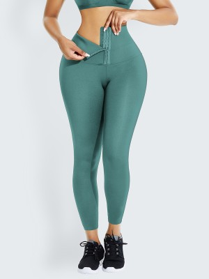 Light Green Waist Trainer 2-In-1 High Waist Legging Custom Logo