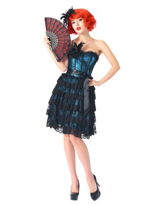Gothic Blue Bandeau Lace Overlay Corset Dresses Feather Hot Sale