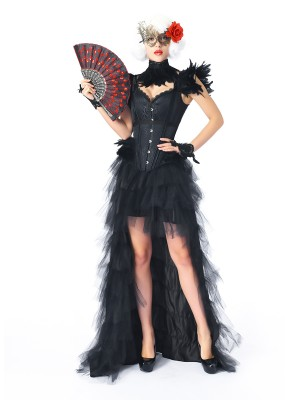 Affordable Black Feather Jacquard Overbust Corset Skirt Set