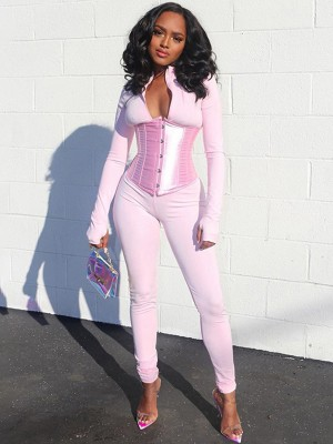 Pink Jumpsuit Corset Suit Zip Neck With Thumbhole Best Materials