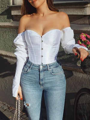 White Long Sleeve Back Lace-Up Corset Top Tight Fitting