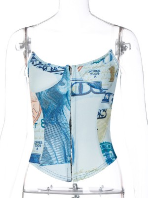 Blue Invisible Strap No Fish Bones Corset Top Sleek Curves