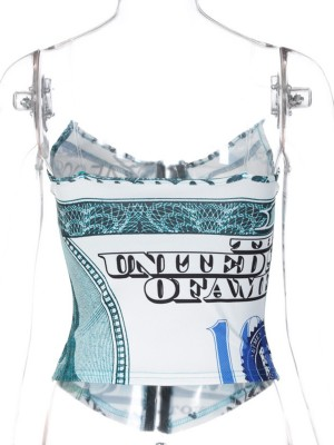 Sky Blue Front Hooks Printed Corset Clear Straps Enhancer