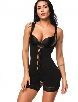 Kinetic Black Underbust Bodysuits Boyshort Open Crotch Super Sexy